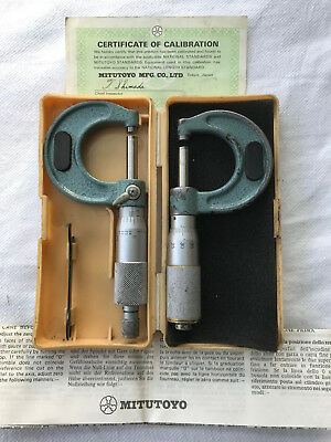 Mitutoyo 0 - 25mm (0.01mm) External/Outside Micrometer, TWO ITEMS!