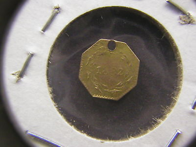 1882 Indian Head 13 Star Octagonal California Gold 1/4 Dollar Love Token (Holed)