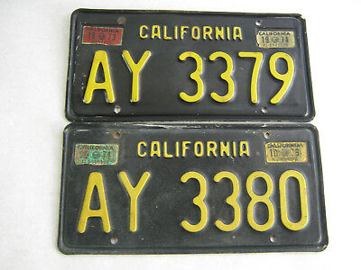 (2) 1963 California Trailer License Plates Sequential Numbers Buddy Sequence