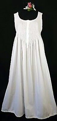 Hand Smocked White Lady Nightgown, 100% Cotton, 5 Sizes S, M, L, XL, XXL