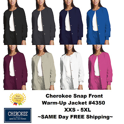 Cherokee Nurses Scrub Workwear Snap-Front Jacket Style 4350 **FREE SHIP** ~NEW~