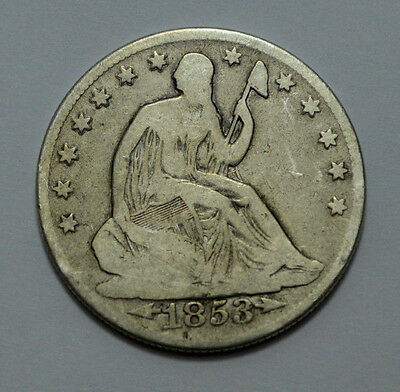 1853-O 50C Arrows and Rays Liberty Seated Half Dollar Rare Silver Coin !