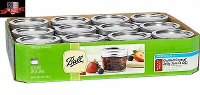 Ball Reg Mouth Quilted Crystal Jelly Glass Mason Jars 4oz Canning Lids Set Of 12