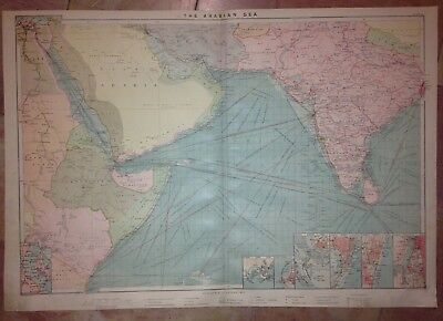 Arabian Sea Indian Ocean 1904 By Philips Very Large Antique Sea Chart
