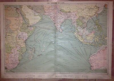 Indian Ocean Australia 1904 By Philips Very Large Antique Sea Chart