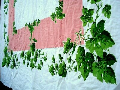 Vintage 40's Green leaf & Vine Tablecloth Pink