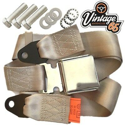 Classic Austin Mini Chrome Buckle 3 Point Adjustable Static Seat Belt Kit Beige