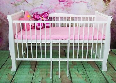 Wooden white Baby Cot Bed 120 x 60 cm ✔ Converts to Junior Bed - Real Bargain