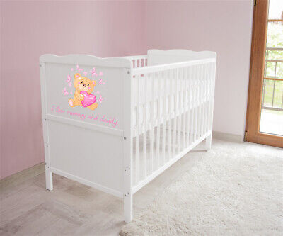 Wooden Baby Cot Bed✔Converts to Junior Bed✔I love Mummy and Daddy✔Mattress Free