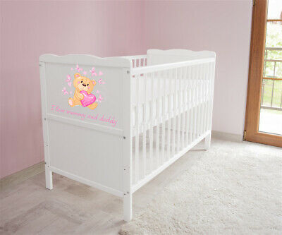 Wooden Baby Cot Bed 3x1Converts to Junior Bed love Mattress Free - EASTERN SALE