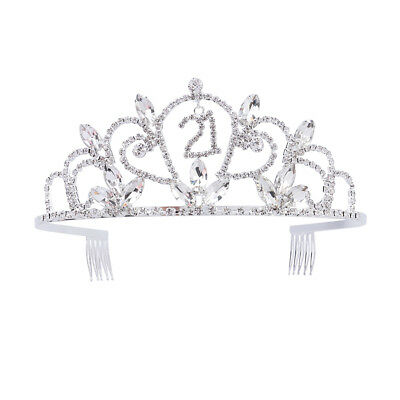 Sweet 21 Birthday Party Princess Rhinestones Crystal Crown Tiara Side Hair Combs