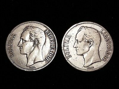 1936 Venezuela 5 Bolivares Silver Circulated coins - Lot of 2 (LN588)