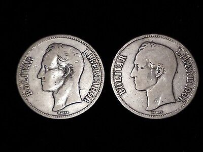 1924 Venezuela 5 Bolivares Silver Circulated coins - Lot of 2 (LN589)