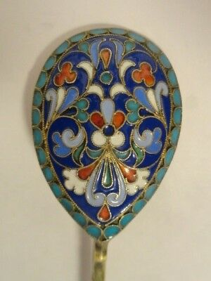 Antique Russian silver 84 cloisonne enamel spoon by Ivan Saltykov. 4.7 inches
