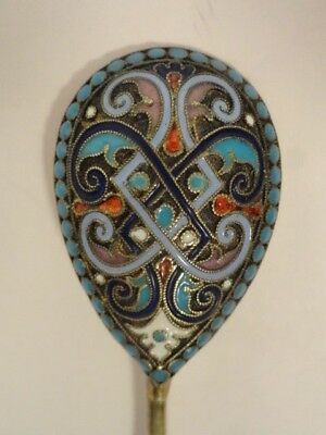 Antique Russian silver 84 cloisonne enamel spoon. Length is 4.4 inches