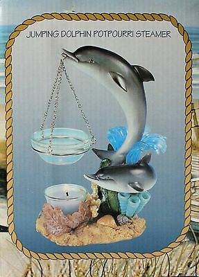 DOLPHIN oil burner tart warmer simmer pot with candle  NEW