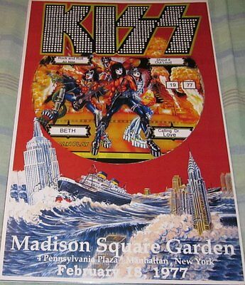 Kiss Madison Square Garden 1977 Replica Concert Poster W/protective Sleeve