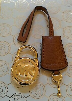 b75ca22bd8d5 ... discount code for michael kors large gold acorn brown leather hamilton  handbag lock key fob charm