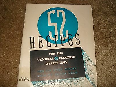 Vintage1940s General Electric GE Waffle Iron Recipes Cookbook