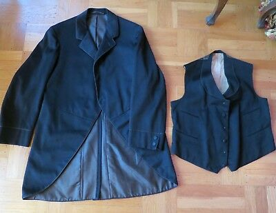 A+ Vintage 1900s Mens 2 piece morning suit vest: 39 chest 38 waist coat