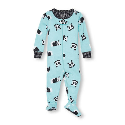 NWT The Childrens Place Panda Girls Stretchie Footed Sleeper Pajamas 3T 4T 5T