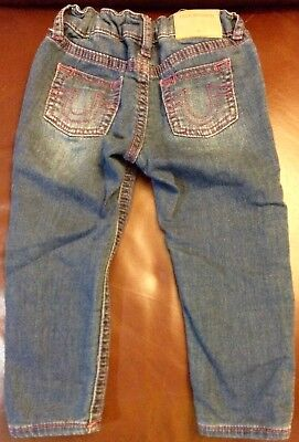 True Religion Dark Wash Pink Stitched Stretch Jeans sz 24M --- Baby Girl