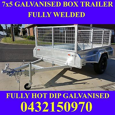 7x5 box trailer fully welded galvanised trailer with mesh cage heavy duty new