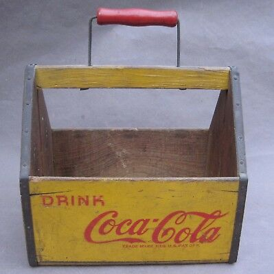 Vintage Wooden Coca COLA Six Pack Bottle Carrier 1940's Carton Rare War Wings