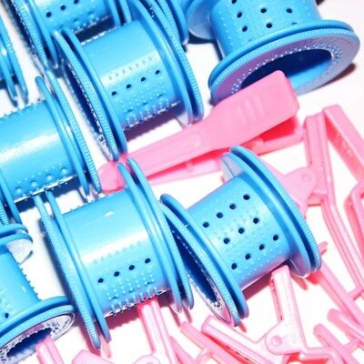 24Pcs Blue Wheel Curling Iron Hairpin Pink Buckle Hair Curler Roller Easy