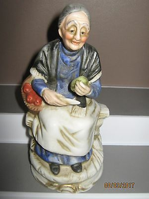 Ceramic figurine no2 old woman sitting with food size 140 to 180 mm ex/cond