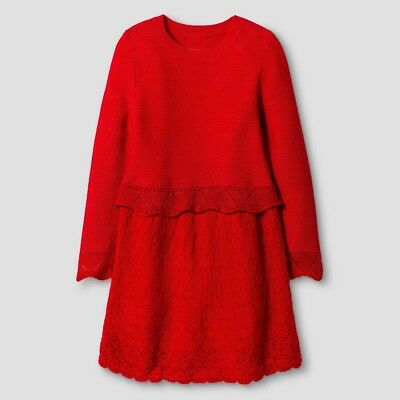 5c40f808d GIRLS SWEATER DRESS Cat   Jack Red Pop Glittery Ribbed Infant Baby ...