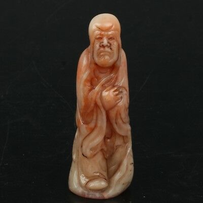 Chinese Exquisite Hand-carved Long eyebrows Lohan carving Shoushan Stone seal