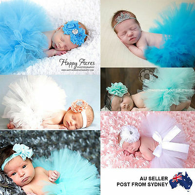 Baby Girl Newborn Photo Costume Photography Prop Outfit Tutu Skirt Headband set
