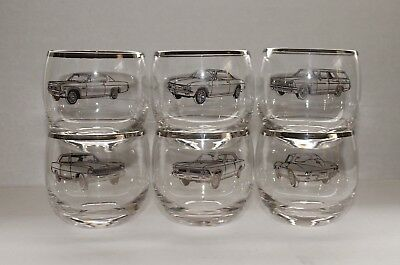 Dorothy Thorpe Style Silver Rim Roly Poly Bar Glasses w/ 1966 Chevrolet Cars (6)