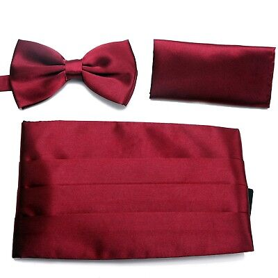 HDE Tuxedo Set Men's Formal Satin Blend Bow Tie Cumberbund and Pocket Square