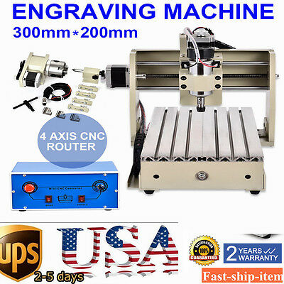 4Axis 3020 300W CNC Router Drilling Milling Engraver PCB DIY Carving Desktop USA