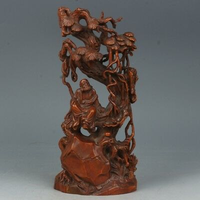 Chinese Exquisite Hand-carved pine Dharma carving Boxwood statue