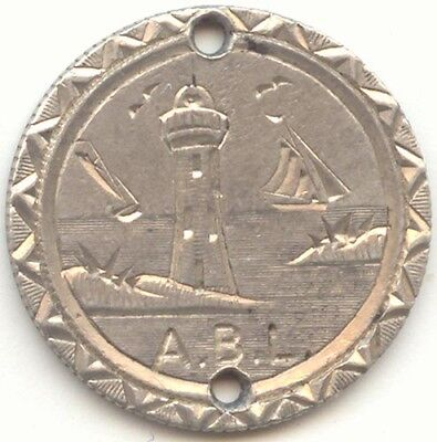 1876 Seated Liberty Dime Love Token,Initials ABL,Lighthouse,Birds,Sailing Ships