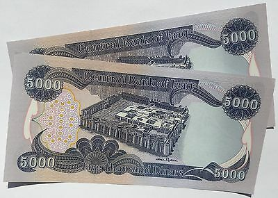 2 x 5,000 NEW IRAQI DINARS - NEW IQD - UNCIRCULATED NOTES - SERIALLY NUMBERED