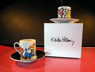 Keith Haring Found. Due tazze caffè con piattino Dancers Box regalo