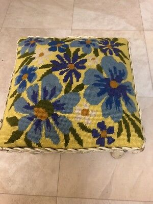 Vintage Antique White Wicker Floral Needlepoint Top Footstool Shabby Chic!