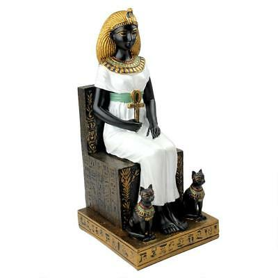 Queen Cleopatra on the Throne of Egypt Statue Egyptian Collectible Hieroglyph