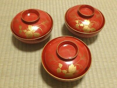 Soup Bowl Cup / Lot of 3 / Lacquerware / Wood / MEIJI / Red / Japanese Vtg 2