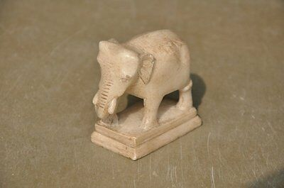 Old Soft White Marble Handcrafted Engraved Fine Elephant Figurine , Collectible