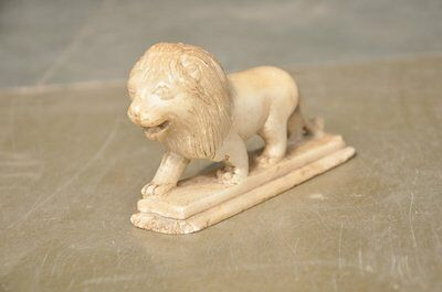 Old Soft White Marble Handcrafted Engraved Fine Lion Figurine , Collectible
