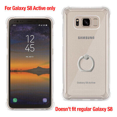 For Samsung Galaxy S8 Active Clear TPU Case w/ Air Cushion Corner & Ring Holder