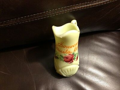"Vintage custard glass 5"" pitcher, souvenir Fruita, Colorado,hard to find!"
