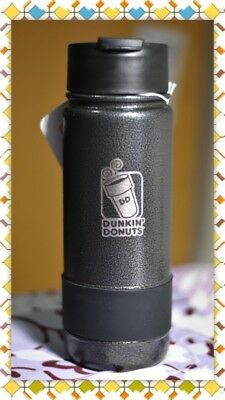 Dunkin Donuts Stainless 18oz Coffee Travel Tumbler With Silicone Band (Black)