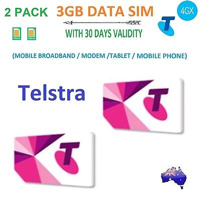 2 Pack Telstra 3Gb Data Micro Sim Card 30 Days Validity For Mobile/modem/tablet