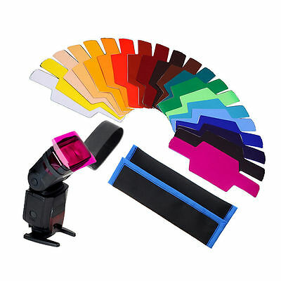 20X 20 Farben FLash / Speedlite / Speedlight Color Gels Filter Kit Bestes  ^